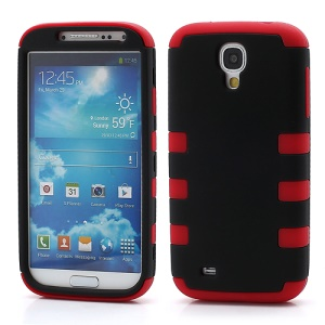 Rubberized Dual Layer Plastic &amp; Silicone Hybrid Case for Samsung Galaxy S4 i9500 i9502 i9505 - Black / Red
