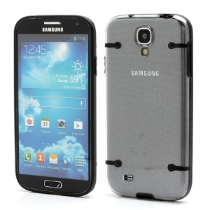Crystal PC Hard Cover + Noctilucent TPU Frame Hybrid Case for Samsung Galaxy S IV S4 i9500 i9502 i9505 - Black