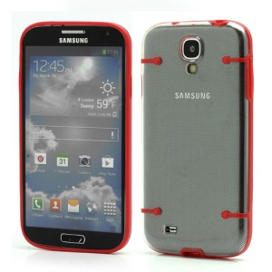 Crystal PC Hard Cover + Noctilucent TPU Frame Hybrid Case for Samsung Galaxy S IV S4 i9500 i9502 i9505 - Red