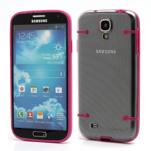 Crystal PC Hard Cover + Noctilucent TPU Frame Hybrid Case for Samsung Galaxy S IV S4 i9500 i9502 i9505 - Rose