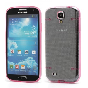 Crystal PC Hard Cover + Noctilucent TPU Frame Hybrid Case for Samsung Galaxy S IV S4 i9500 i9502 i9505 - Pink