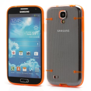 Crystal PC Hard Cover + Noctilucent TPU Frame Hybrid Case for Samsung Galaxy S IV S4 i9500 i9502 i9505 - Orange