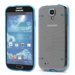 Crystal PC Hard Cover + Noctilucent TPU Frame Hybrid Case for Samsung Galaxy S IV S4 i9500 i9502 i9505 - Blue