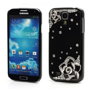 3D Camellia Bling Bling Rhinestone Hard Case Cover for Samsung Galaxy S4 IV i9500 i9502 i9505 - Black