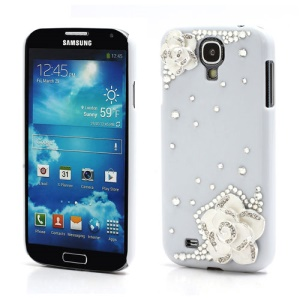 3D Camellia Bling Bling Rhinestone Hard Case Cover for Samsung Galaxy S4 IV i9500 i9502 i9505 - White