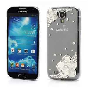 3D Camellia Bling Bling Rhinestone Hard Case Cover for Samsung Galaxy S4 IV i9500 i9502 i9505 - Transparent