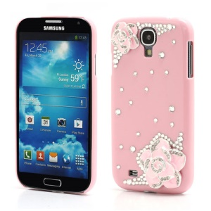 3D Camellia Bling Bling Rhinestone Hard Case Cover for Samsung Galaxy S4 IV i9500 i9502 i9505 - Pink