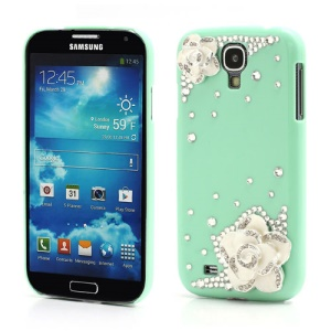 3D Camellia Bling Bling Rhinestone Hard Case Cover for Samsung Galaxy S4 IV i9500 i9502 i9505 - Green
