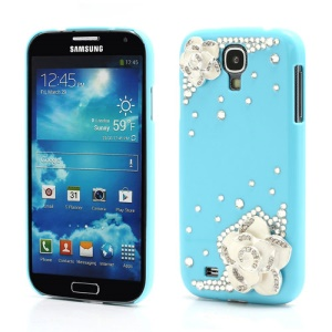 3D Camellia Bling Bling Rhinestone Hard Case Cover for Samsung Galaxy S4 IV i9500 i9502 i9505 - Baby Blue