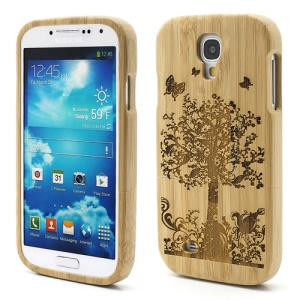 Butterfly Flora Carved Natural Bamboo Hard Shell for Samsung Galaxy S 4 IV i9500 i9502 SCH-I545