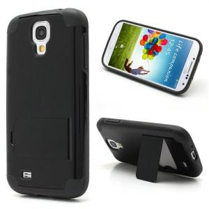 For Samsung Galaxy S4 i9500 i9505 Hybrid PC & TPU Case w/ Kickstand - Dark Grey / Black