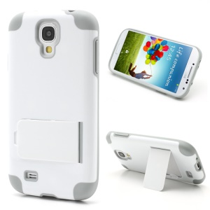 For Samsung Galaxy S4 i9500 i9505 Hybrid PC & TPU Case w/ Kickstand - Light Grey / White