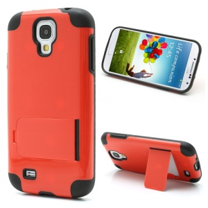 For Samsung Galaxy S4 i9500 SCH-I545 PC & TPU Hybrid Case w/ Kickstand - Black / Orange