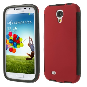 2 in 1 PC + TPU Hybrid Shell Cover for Samsung Galaxy S4 I9505 I9500 w/ Built-in Screen Protector - Red