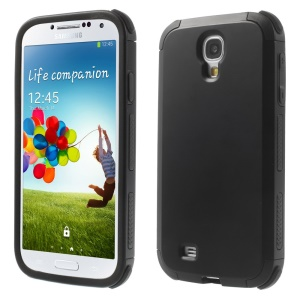 Super Cool Two Pieces TPU & PC Hybrid Case for Samsung Galaxy S4 i9500 i9502 i9505 - Black
