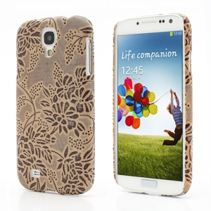 Rugged Grapevine Floral Plastic Case Cover for Samsung Galaxy S 4 IV i9500 i9505 - Brown