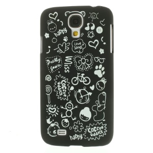 Cartoon Graffiti Matte Plastic Hard Case for Samsung Galaxy S4 i9502 - Black