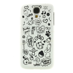 Cartoon Graffiti Matte Plastic Hard Cover for Samsung Galaxy S4 i9502 - White