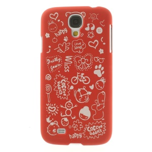 Cartoon Graffiti Matte Plastic Hard Shell for Samsung Galaxy S4 i9502 - Red