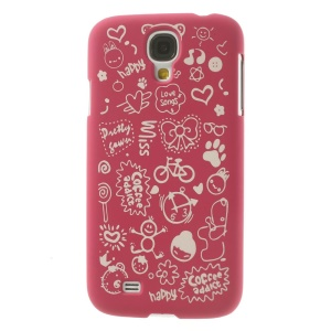 Cartoon Graffiti Matte Plastic Hard Shell Cover for Samsung Galaxy S4 i9502 - Rose