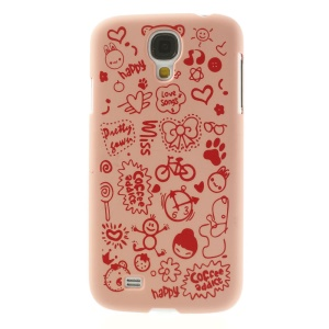 Cartoon Graffiti Matte Plastic Hard Case Shell for Samsung Galaxy S4 i9502 - Pink