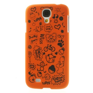 Cartoon Graffiti Matte Plastic Hard Case Cover for Samsung Galaxy S4 i9502 - Orange