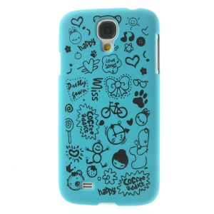 Cartoon Graffiti Matte Plastic Back Shell for Samsung Galaxy S4 i9502 - Light Blue