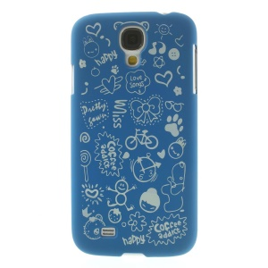 Cartoon Graffiti Matte Plastic Back Shell Cover for Samsung Galaxy S4 i9502 - Dark Blue