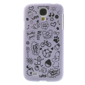 Cartoon Graffiti Matte Plastic Back Case Shell for Samsung Galaxy S4 i9502 - Purple