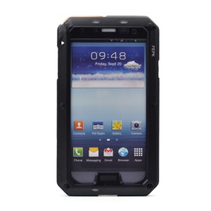 PEPKOO Waterproof Dropproof Shockproof Metal + Silicone Case for Samsung Galaxy S4 I9500 - Black