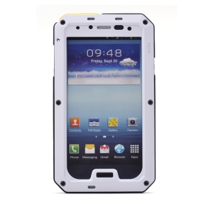 PEPKOO Waterproof Dropproof Shockproof Metal + Silicone Cover for Samsung Galaxy S4 I9502 - White