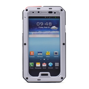 PEPKOO Waterproof Dropproof Shockproof Metal + Silicone Shell for Samsung Galaxy S4 I9505 - Silver