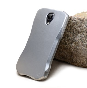 2-in-1 Aluminum Hard Case for Samsung Galaxy S4 I9502 w/ Shock Absorbent Screen Protector - Silver