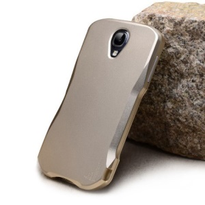 2-in-1 Aluminum Hard Shell for Samsung Galaxy S4 I9502 w/ Shock Absorbent Screen Protector - Gold
