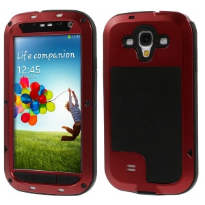 Red Redpepper Metal + Silicone + Gorilla Glass Hybrid Protection Cover for Samsung Galaxy S4 I9502
