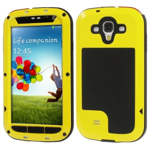 Yellow Redpepper Metal + Silicone + Gorilla Glass Hybrid Protection Case for Samsung Galaxy S4 I9505