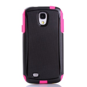 Shockproof Dirt-proof PC + TPU Combo Protective Case for Samsung Galaxy S4 I9500 I9502 I9505 - Rose / Black