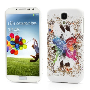 Fluttering Butterfly Hard Case Cover for Samsung Galaxy S4 S IV i9500 i9505 (White Grounding)