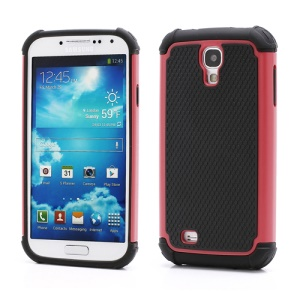 Premium Silicone & Plastic Combo Shatterproof Hybrid Case Accessories for Samsung Galaxy S IV S 4 i9500 i9505 - Black / Red