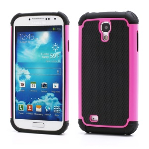 Premium Silicone & Plastic Combo Shatterproof Hybrid Case Accessories for Samsung Galaxy S IV S 4 i9500 i9505 - Black / Rose