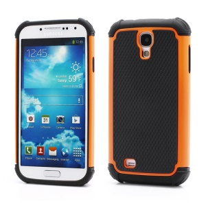 Premium Silicone & Plastic Combo Shatterproof Hybrid Case Accessories for Samsung Galaxy S IV S 4 i9500 i9505 - Black / Orange