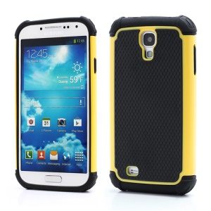 Premium Silicone & Plastic Combo Shatterproof Hybrid Case Accessories for Samsung Galaxy S IV S 4 i9500 i9505 - Black / Yellow