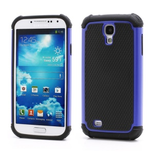 Premium Silicone & Plastic Combo Shatterproof Hybrid Case Accessories for Samsung Galaxy S IV S 4 i9500 i9505 - Black / Dark Blue