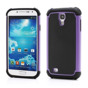 Premium Silicone & Plastic Combo Shatterproof Hybrid Case Accessories for Samsung Galaxy S IV S 4 i9500 i9505 - Black / Purple