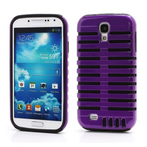 Retro Microphone Fusion Silicone &amp; Plastic Hybrid Case Cover for Samsung Galaxy Galaxy S IV S4 i9500 i9505 - Black / Purple