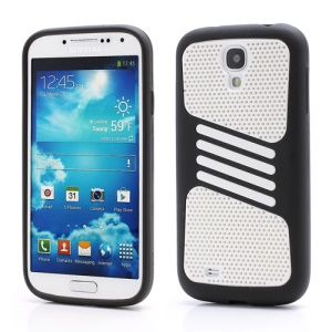 Perforated Mesh Plastic &amp; TPU Combo Case for Samsung Galaxy S IV S 4 i9500 i9505 - White / Black