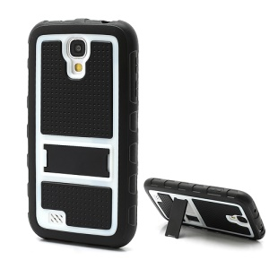 Anti-slip Plastic &amp; TPU Hybrid Armor Case w/ Stand for Samsung Galaxy S4 IV i9500 i9505 - Black / White