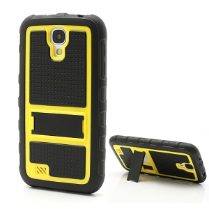 Anti-slip Plastic &amp; TPU Hybrid Armor Case w/ Stand for Samsung Galaxy S4 IV i9500 i9505 - Black / Yellow