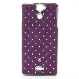 Bling Starry Sky Rhinestone Plating Hard Plastic Case Cover for Sony Xperia V LT25i - Purple