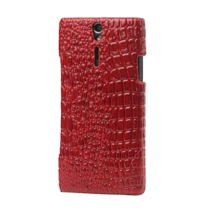 Crocodile Leather Coated Hard Case for Sony Xperia S LT26i LT26a / Nozomi - Red